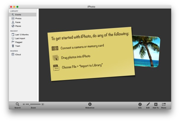 iPhoto launched successfully in Mac OS X