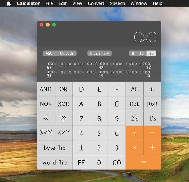 Programmer calculator in Mac OS X
