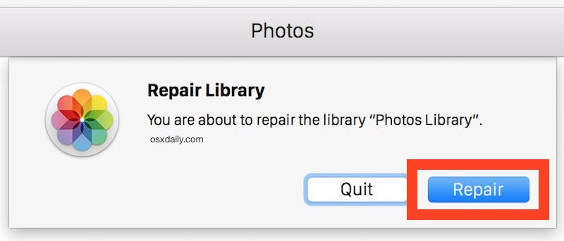 Repair a Photos Library in Mac OS X