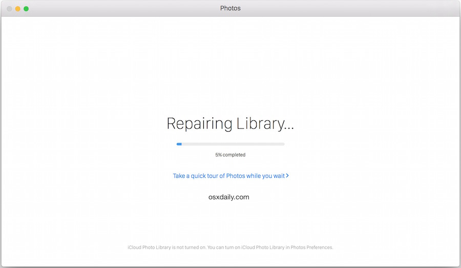 Repairing Photos Library in Mac OS X progress indicator
