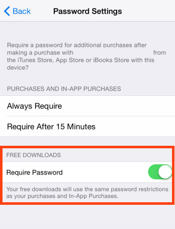 Require a password for free downloads in iOS