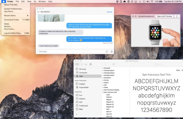 San Francisco system font in use in OS  X Yosemite