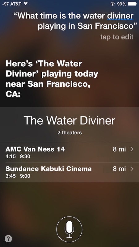 Find what time a movie is playing and where it is playing with Siri