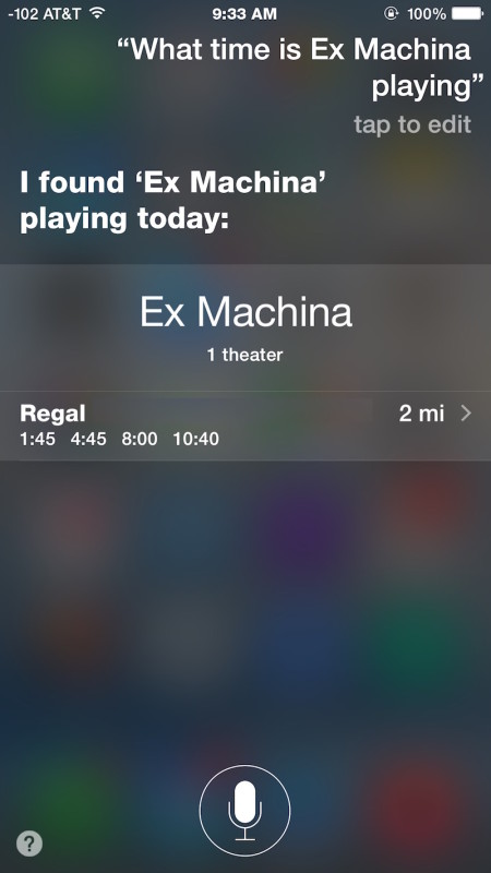 What time is a specific movie playing with Siri
