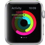 Apple Watch activity goal screen summary with standing reminder
