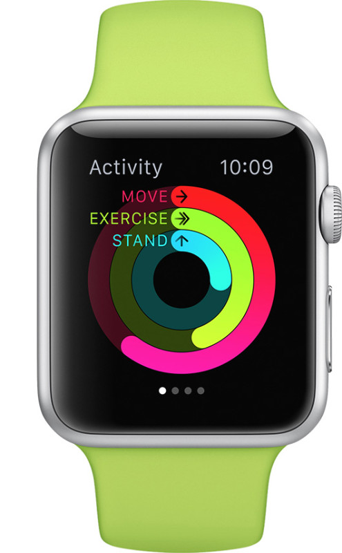 Apple Watch activity goal screen summary with standing progress reminder