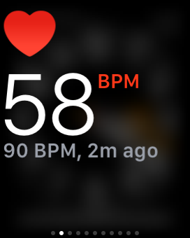 Apple Watch heart rate monitor in BPM showing current heart rate and the last heart rate measured