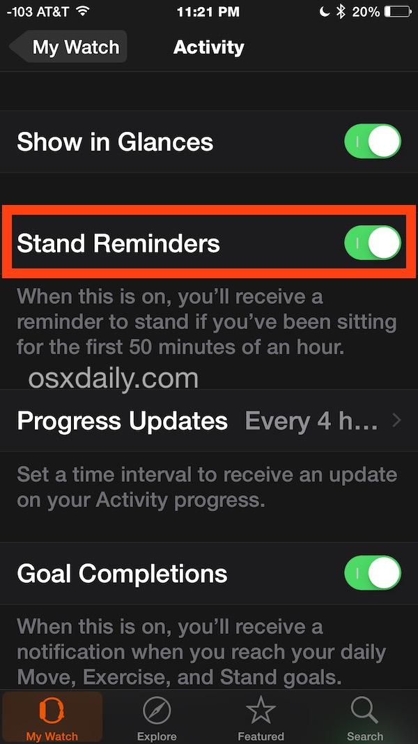 Apple Watch Stand Up reminder setting