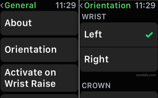 Change Apple Watch wrist orientation in device settings