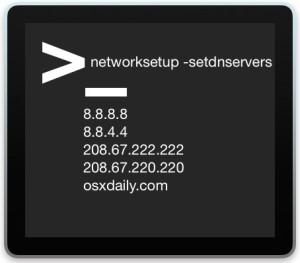 Change DNS servers from the command line of Mac OS X