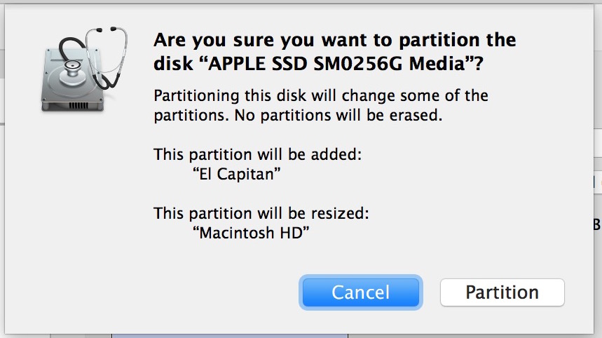 Confirm creation of new partition for El Capitan