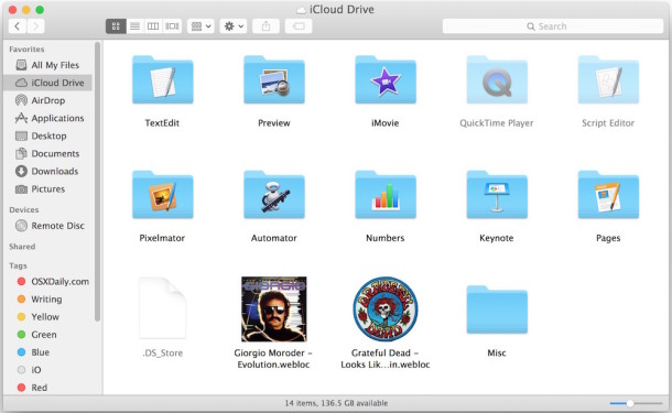 Copy files to iCloud Drive from Mac OS X