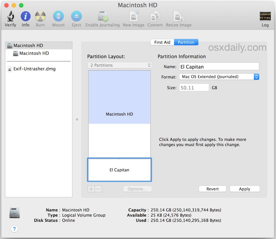 Create a partition for OS X El Capitan dual booting on the same Mac hard drive