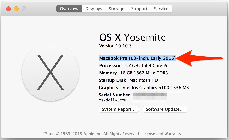 Find Mac model hardware year
