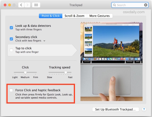 Force Click settings for Mac trackpad