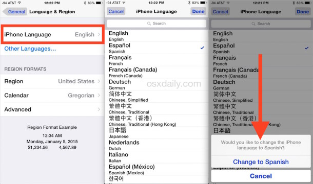 How to change the language used on iPhone