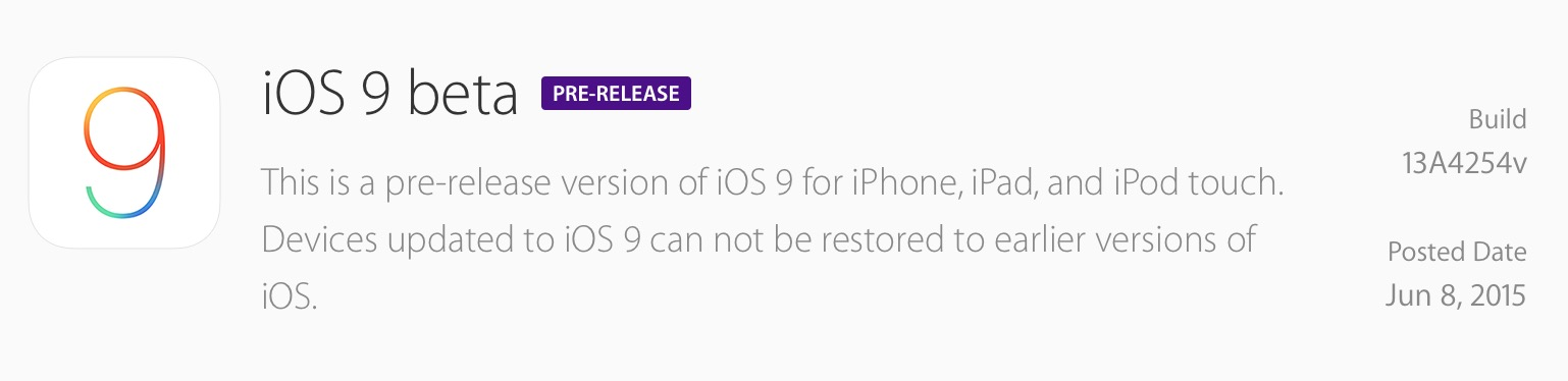 iOS 9 beta 1 at the Apple download site