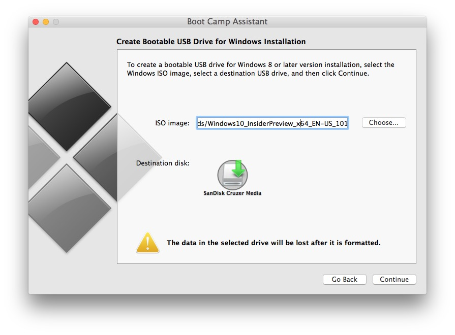 Make Windows 10 install drive with an ISO from Mac OS X