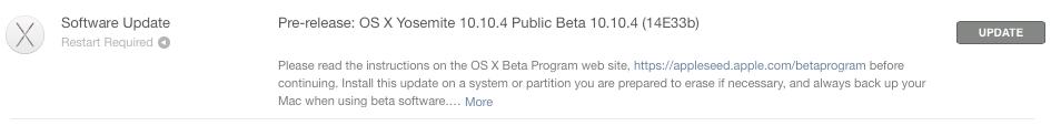 OS X Yosemite 10.10.4 beta 5