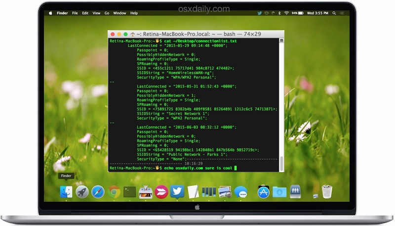 Retrieve detailed wireless connection history details from Mac OS X command line