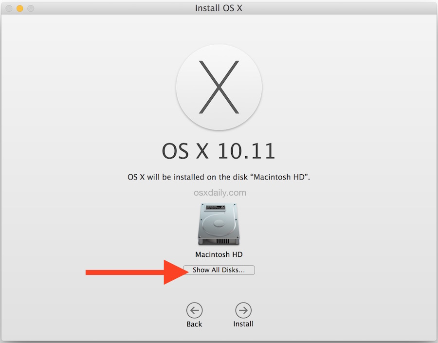 Show all disks for installing OS X onto separate partition