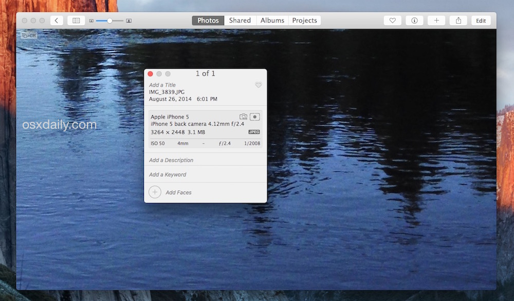 Viewing EXIF data of a picture in Photos on Mac OS X