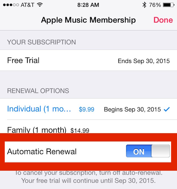 Apple Music subscription renewal switch on or off