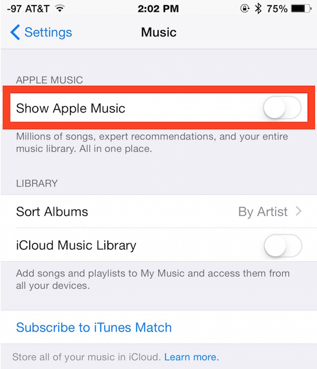 Disable Apple Music on iPhone & iPad