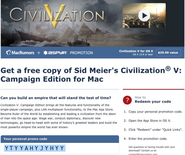 Get the free download code for Civilization V