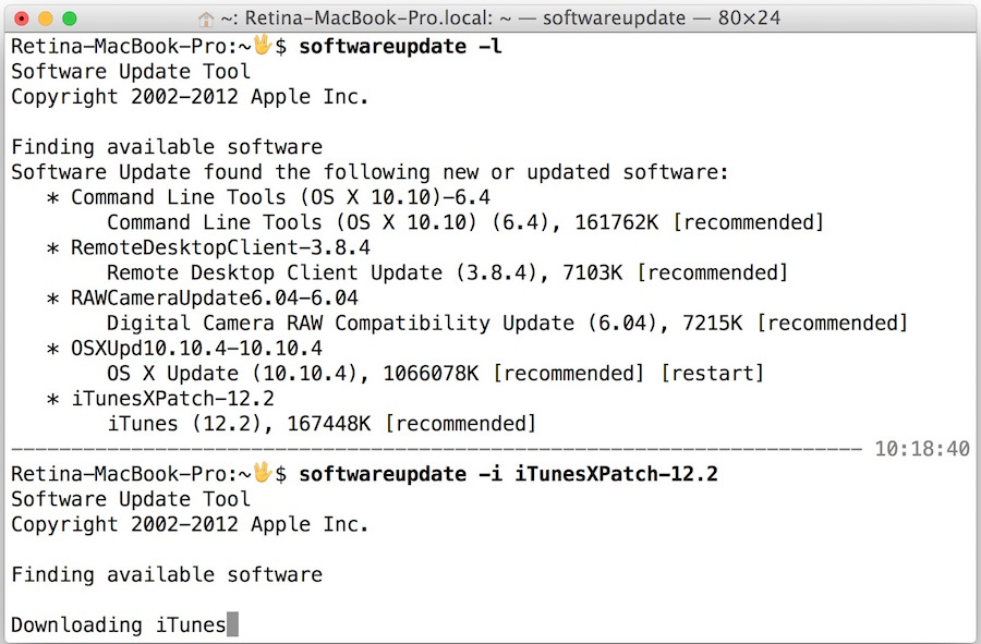 Install an update through Terminal of OS X