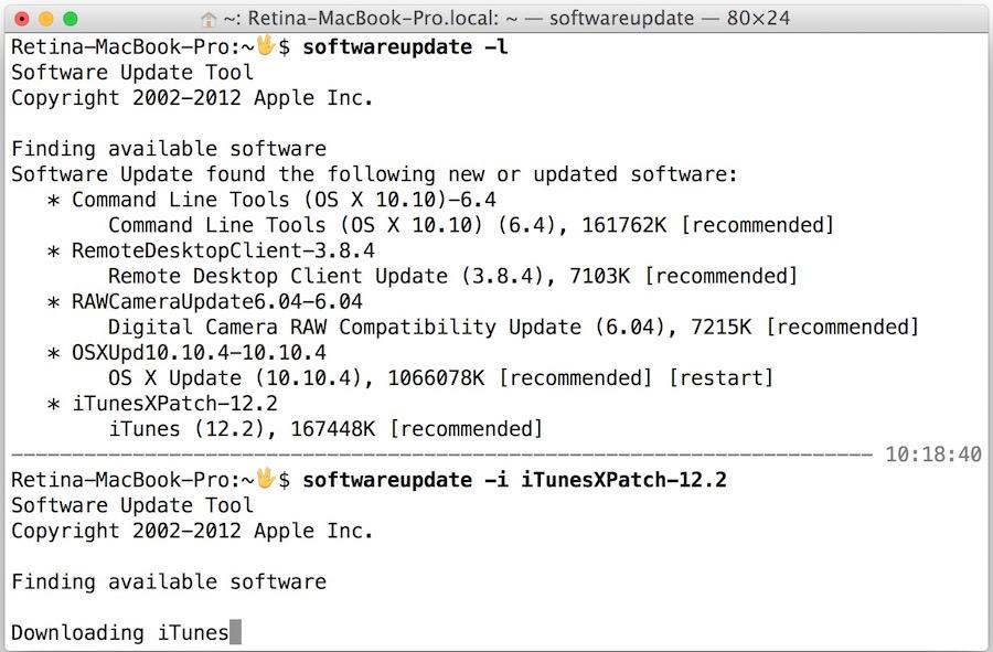 Install an update through Terminal of OS X