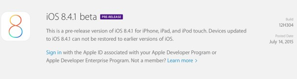 iOS 8.4.1 beta 1