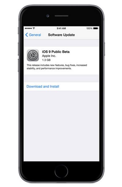 iOS 9 Public Beta install