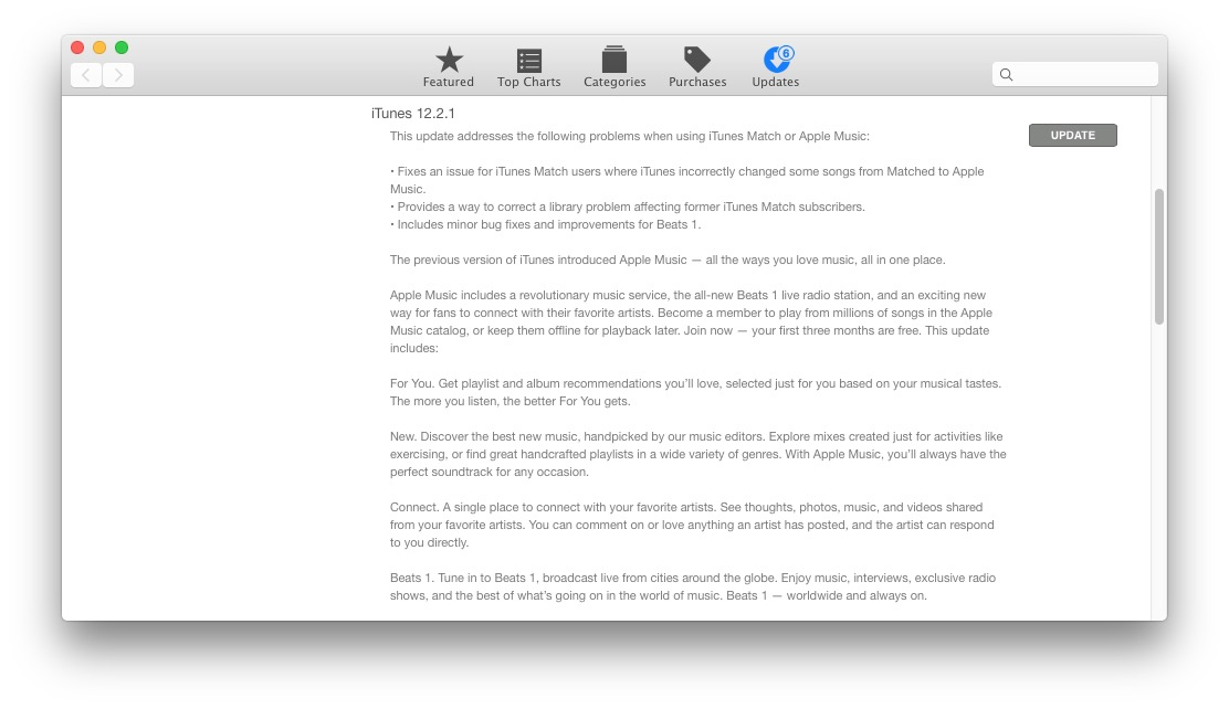 iTunes 12.2.1 software update