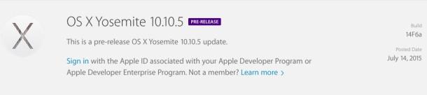 OS X Yosemite 10.10.5 beta 1