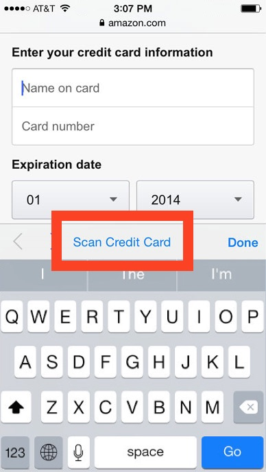 Scan credit card info with iPhone camera in Safari