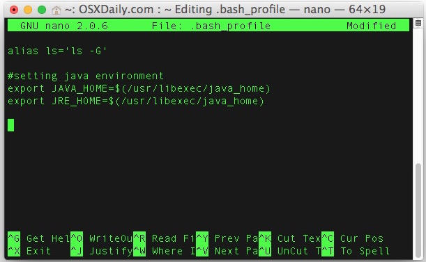 Set environment variables in Mac OS X by placing them into bash_profile
