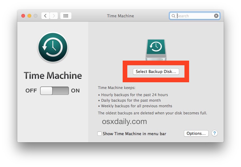 Setting up Time Machine backups in OS X by choosing the Time Machine target disk