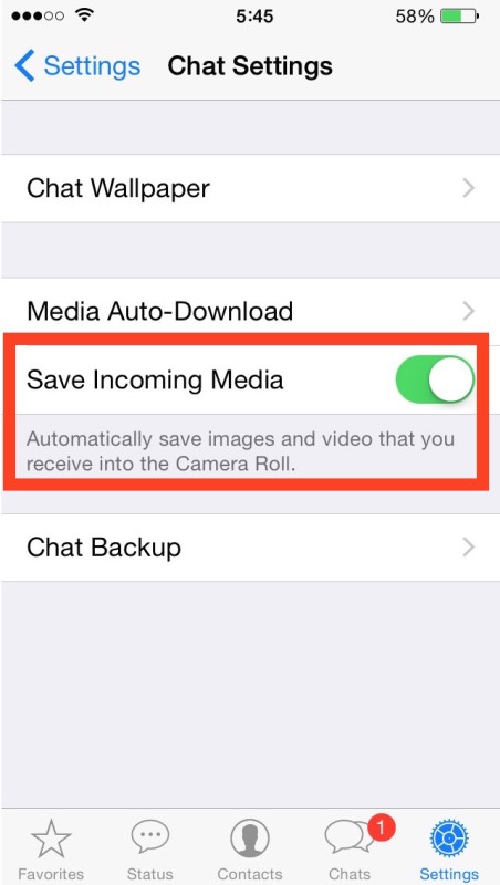 Stop WhatsApp saving pictures and video to iPhone