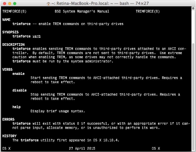 Using trimforce to enable TRIM on SSD volumes in Mac OS X