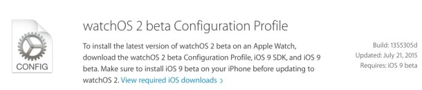 Watch OS 2 beta 4