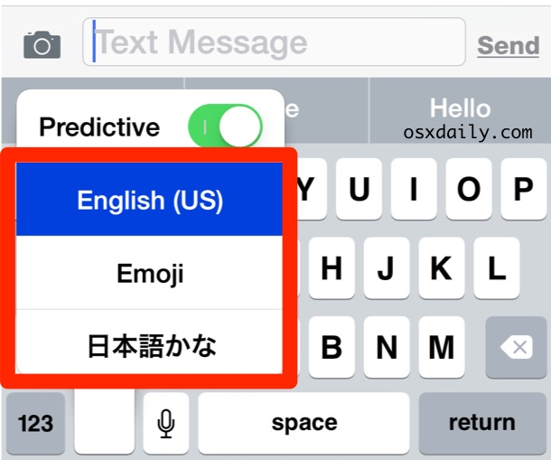 Select the desired language keyboard to use in iOS