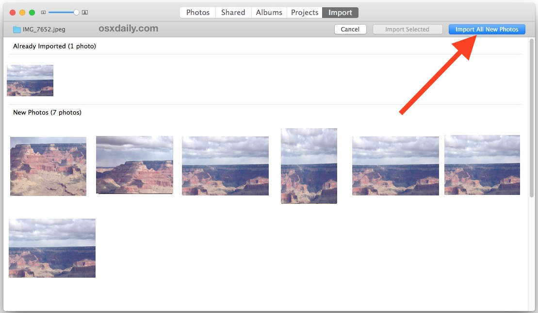 Import all new selected pictures into Photos app in Mac OS X