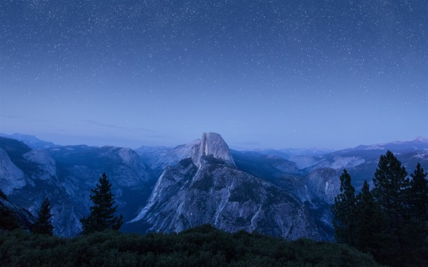 OS X El Capitan Glacier Point view night time wallpaper