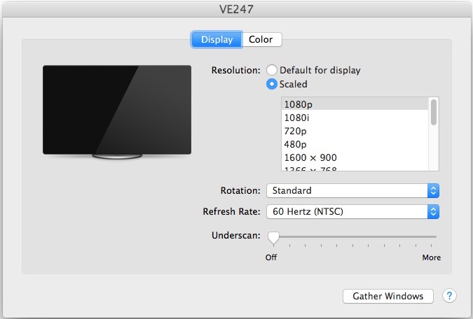 All possible screen resolutions shown for a Mac Display