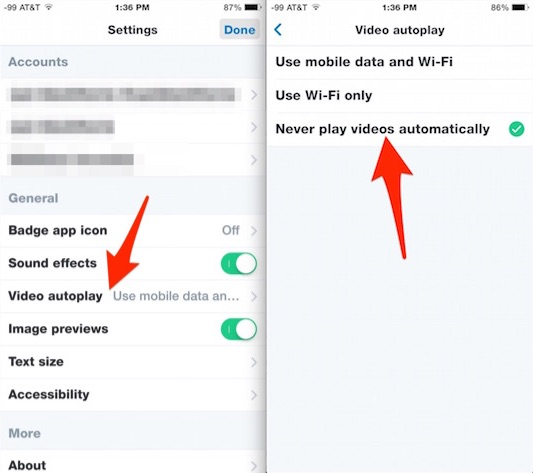 Disable autoplay video in Twitter for iOS
