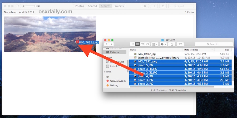 Drag and drop pictures into the open Photos app to import directly to an album in Mac OS X Photos app