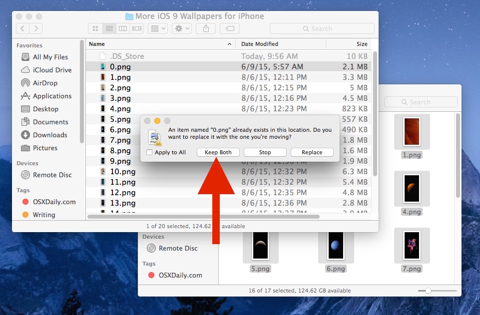 Hold OPTION key to reveal Keep Both files option in Mac Finder