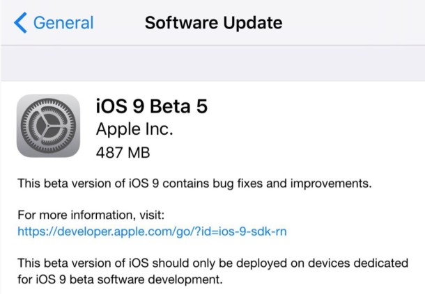 iOS 9 beta 5 for developers