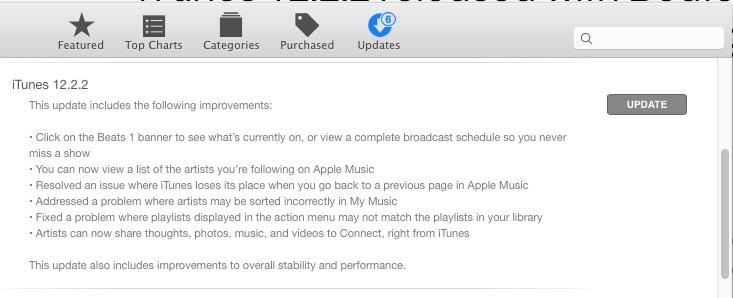 iTunes 12.2.2 update